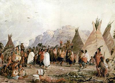 Dakota Painting - Dakota Scalp Dance, 1850 by Granger
