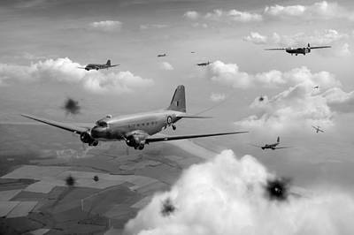 Digital Art - Dakotas And Horsas Over Arnhem Black And White Version by Gary Eason