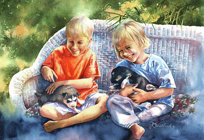 Painting - Dakotas Puppies by Jill Westbrook