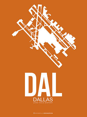 Travel Digital Art - Dal Dallas Airport Poster 2 by Naxart Studio