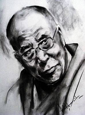 World Leader Drawing - Dalai Lama by Ashok Karnik