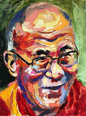 Derek Russell Wall Art - Painting - Dalai Lama by Derek Russell