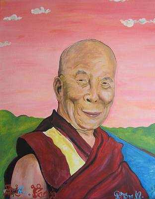 Painting - Dalai Lama Portrait by Erik Franco