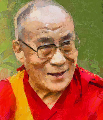 Busy Life Digital Art - Dalai Lama by Yury Malkov