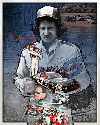 Mr Men Photograph - Dale Earnhardt Collage by Retro Images Archive