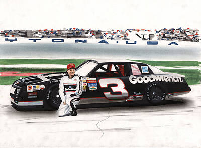 Sports Drawings - Dale Earnhardt Goodwrench Monte Carlo by Paul Kuras