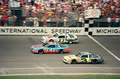 The Kings Photograph - Dale Earnhardt Richard Petty And Rusty Wallace Race At Michigan by Retro Images Archive