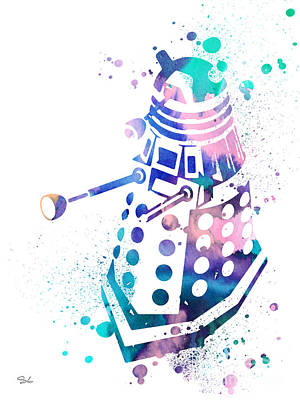 Doctor Who Painting - Dalek 2 by Watercolor Girl