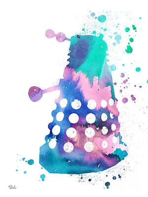 Doctor Who Painting - Dalek by Watercolor Girl