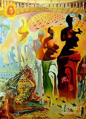 Bull Painting - Dali Oil Painting Reproduction - The Hallucinogenic Toreador by Mona Edulesco
