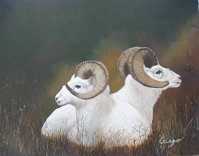 Dall Rams Art Print by Jean Yves Crispo