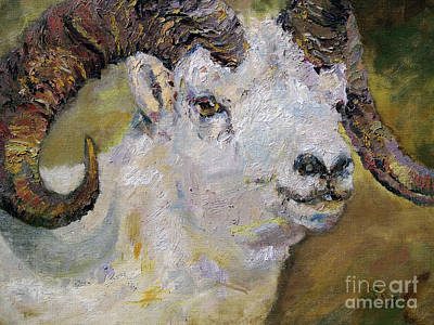 Mountain Goat Art Painting - Dall Sheep Ram by Ginette Callaway