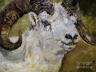Mountain Goat Painting - Dall Sheep Ram Wildlife Portrait by Ginette Callaway