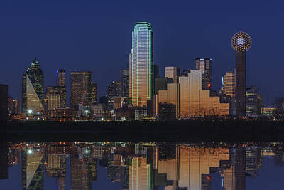 Skylines Royalty-Free and Rights-Managed Images - Dallas Aglow by Rick Berk