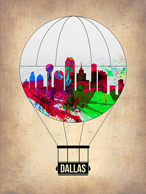 Dallas Skyline Painting - Dallas Air Balloon by Naxart Studio