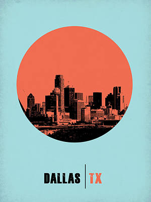 Nostalgic Digital Art - Dallas Circle Poster 1 by Naxart Studio