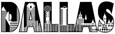 Animal Watercolors Juan Bosco - Dallas City Skyline Text Outline Black and White Illustration by Jit Lim