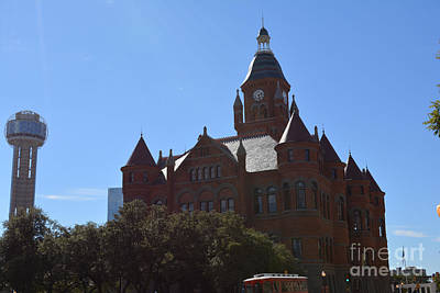 Dallas County Courthouse And Reunion Tower Art Print by Ruth  Housley