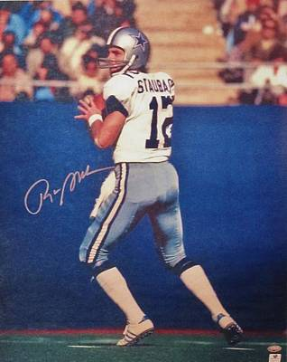 Dallas Cowboys Quarterback #12 Roger Staubach Art Print by Donna Wilson