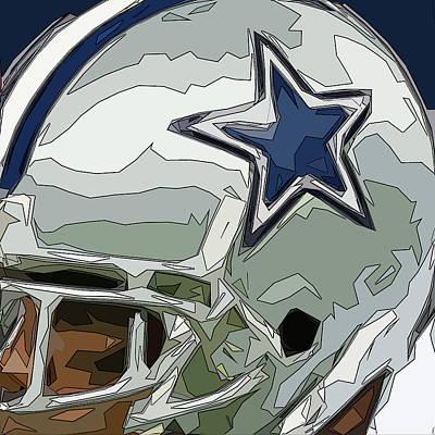 Gridiron Digital Art - Dallas Cowboys Comic Style Helmet Abstract 2 by David G Paul