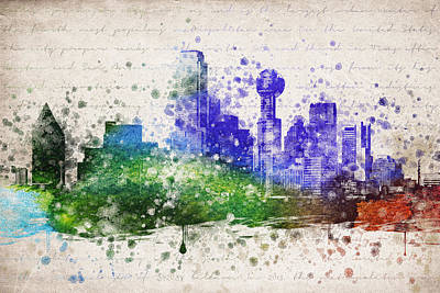 Skylines Drawings - Dallas in Color by Aged Pixel