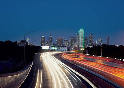 Dallas Night Skyline Light Trails Art Print