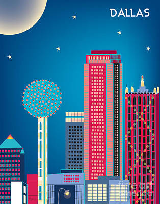 Dallas Nightime Skyline Print by Karen Young
