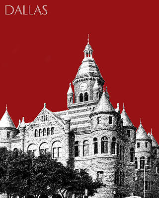 Cities Digital Art - Dallas Skyline Old Red Courthouse - Dark Red by DB Artist