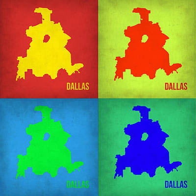 Dallas Digital Art - Dallas Pop Art Map 1 by Naxart Studio