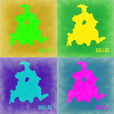 Dallas Digital Art - Dallas Pop Art Map 2 by Naxart Studio