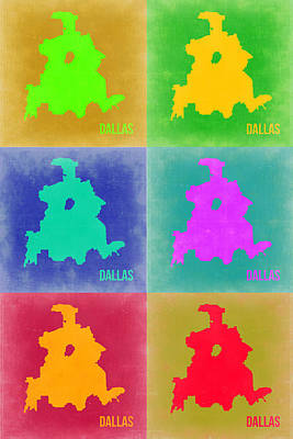 Dallas Digital Art - Dallas Pop Art Map 3 by Naxart Studio