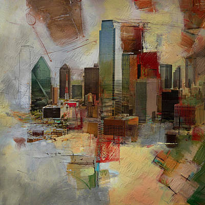 Dallas Skyline Wall Art - Painting - Dallas Skyline 003 by Corporate Art Task Force
