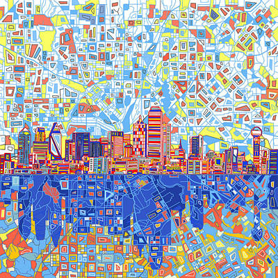 Dallas Skyline Painting - Dallas Skyline Abstract 5 by Bekim Art