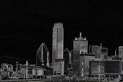 Dallas Skyline In Black - Center Art Print