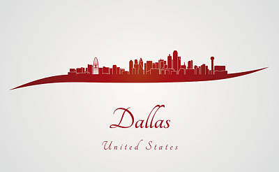 Dallas Skyline In Red Art Print