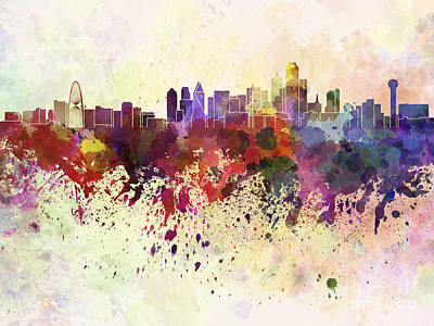 Dallas Skyline In Watercolor Background Art Print