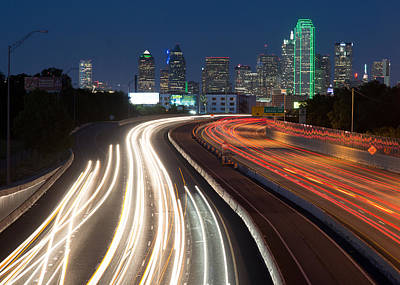 Photograph - Dallas Skyline Light Trails by Rospotte Photography