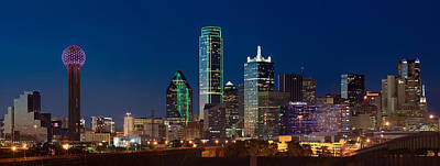 Dallas Photograph - Dallas Skyline Night 5 by Rospotte Photography