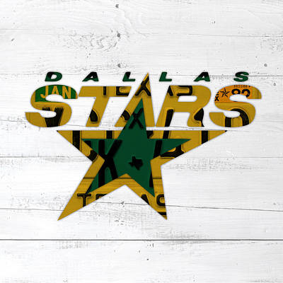 Dallas Mixed Media - Dallas Stars Hockey Team Retro Logo Vintage Recycled Texas License Plate Art by Design Turnpike