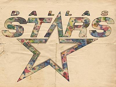Hockey Painting - Dallas Stars Poster Art by Florian Rodarte