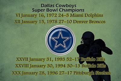 Miami Drawing - Dallas Texas Cowboys Super Bowl Wins by Movie Poster Prints