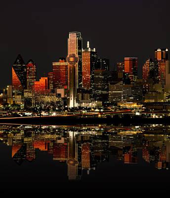 Dallas Skyline Photograph - Dallas Texas Night by Daniel Hagerman