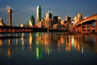 Dallas Texas Painting - Dallas Texas Skyline At Dusk by Elaine Plesser