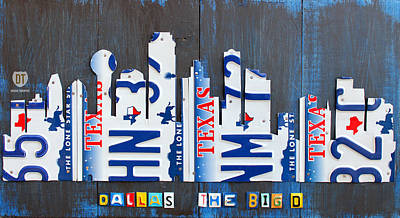 Austin Mixed Media - Dallas Texas Skyline License Plate Art By Design Turnpike by Design Turnpike