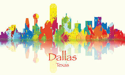 Digital Art - Dallas Texas Skyline by Loretta Luglio