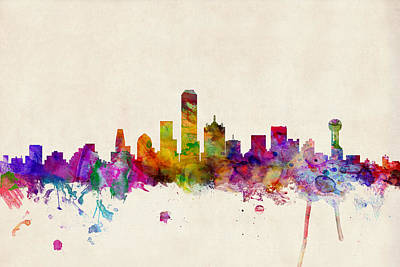 Watercolor Digital Art - Dallas Texas Skyline by Michael Tompsett