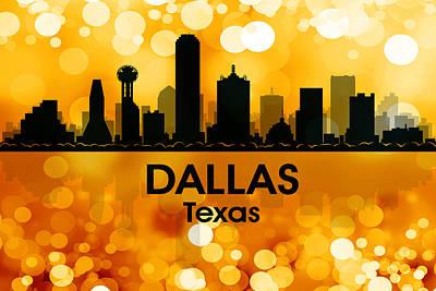 Abstract Skyline Mixed Media - Dallas TX 3 by Angelina Tamez