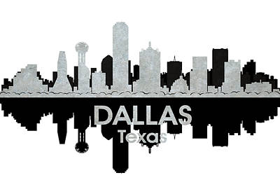 Abstract Skyline Mixed Media - Dallas TX 4 by Angelina Tamez