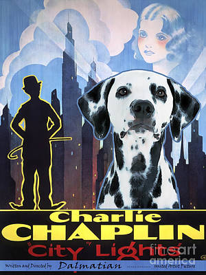 Painting - Dalmatian Art Canvas Print - City Light Movie Poster by Sandra Sij