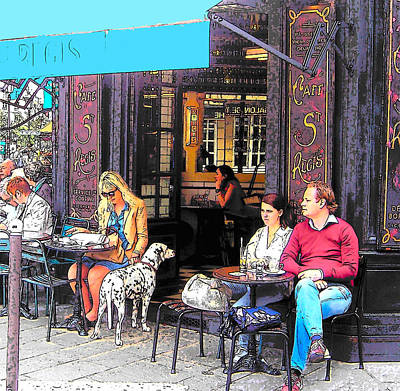 Coffee Drinking Digital Art - Dalmatian At The Paris Cafe by Jan Matson